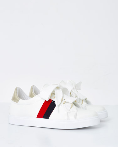 white Savida Stripe Trainers