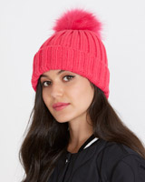 bright-pink Savida Ribbed Pom Hat