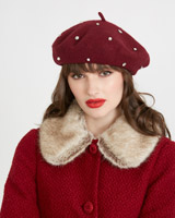 burgundy Savida Pearl And Jewel Beret