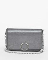 pewter Savida Metallic Flap Bag