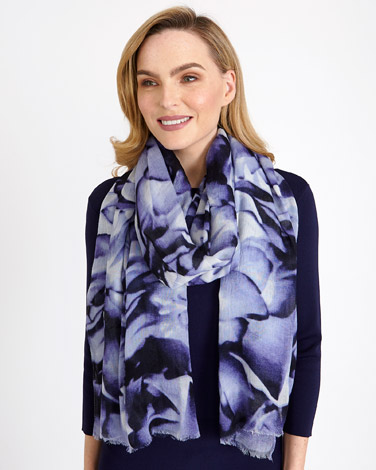 blueGallery Blue Floral Scarf