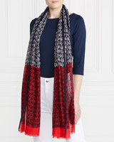 navy-red Gallery Abstract Two Tone Scarf