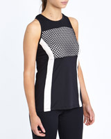 black Mesh Block Tank Top