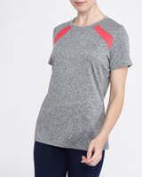 grey-marl Mesh Panel T-Shirt