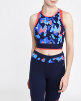 navy Printed Crop Top