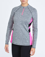 grey-marl Mesh Insert Half Zip Top