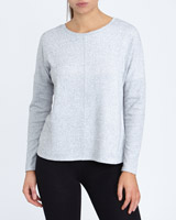 grey-marl Soft Rib Cuff Sweat