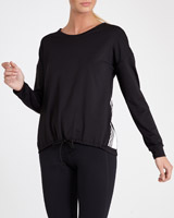 black Drawcord Hem Long Sleeve Top