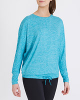 turquoise Batwing Long-Sleeved Top