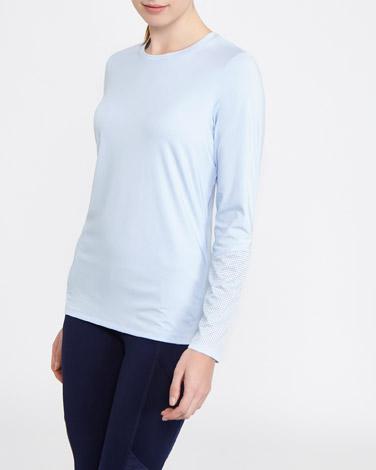 light-blueLong Sleeve Mesh Back Top