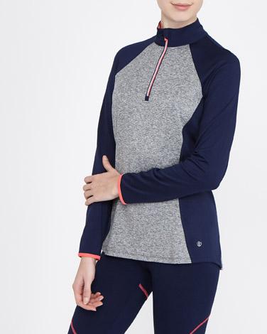 navyLong-Sleeved Half Zip Top