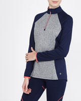 navy Long-Sleeved Half Zip Top