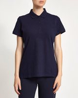 navy Stretch Pique Polo Shirt