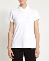 white Stretch Pique Polo Shirt