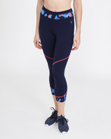 navy Print Detail Capri Leggings