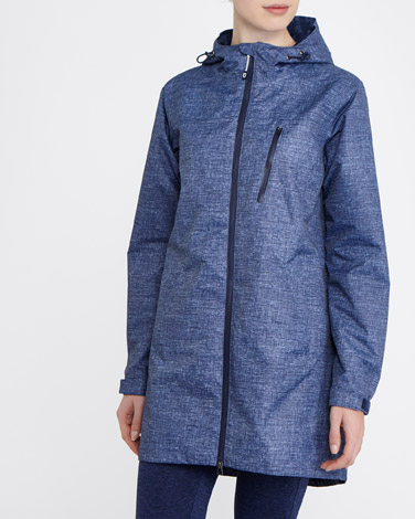 navy Longline Waterproof Jacket