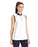 white Pádraig Harrington Sleeveless Pipe Detail Polo (UPF 50)
