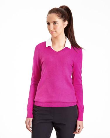 pinkPádraig Harrington V-Neck Textured Jumper