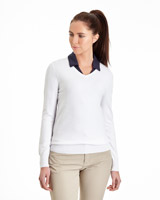 white Pádraig Harrington V-Neck Textured Jumper