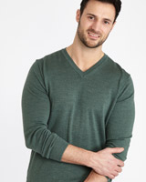 green Paul Costelloe Living Merino V-Neck Jumper
