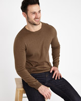 brown Paul Costelloe Living Cotton Silk Cashmere Crew Jumper