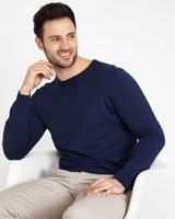 navy Paul Costelloe Living Cotton Silk Cashmere Crew Jumper