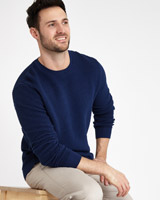 blue Paul Costelloe Living Lattice Crew Neck Jumper