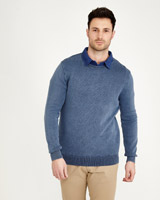 denim Paul Costelloe Living Enzyme Washed Ribbed Crew-Neck