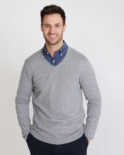 Paul Costelloe Living Cotton Silk Cashmere V-Neck Jumper thumbnail