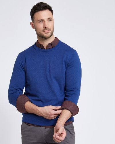 Paul Costelloe Living Blue Linen-Blend Crew-Neck Jumper