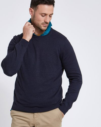 Paul Costelloe Living Navy Linen-Blend Crew-Neck Jumper