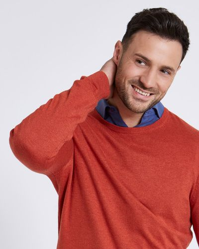 Paul Costelloe Living Rust Linen Blend Crew Neck Jumper