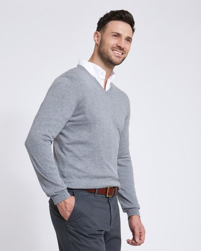 Paul Costelloe Living Grey Linen Blend V-Neck Jumper