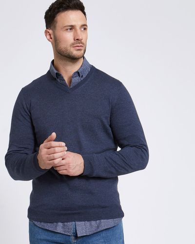 Paul Costelloe Living Denim Linen Blend V-Neck Jumper