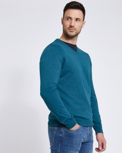 Paul Costelloe Living Teal Linen Blend V-Neck Jumper