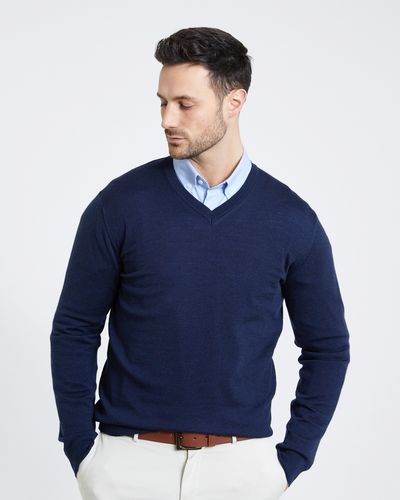 Paul Costelloe Living Regular Fit Navy Merino V-Neck (Made in Italy)