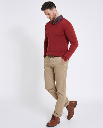 Paul Costelloe Living Regular Fit Red Merino V-Neck (Made in Italy)