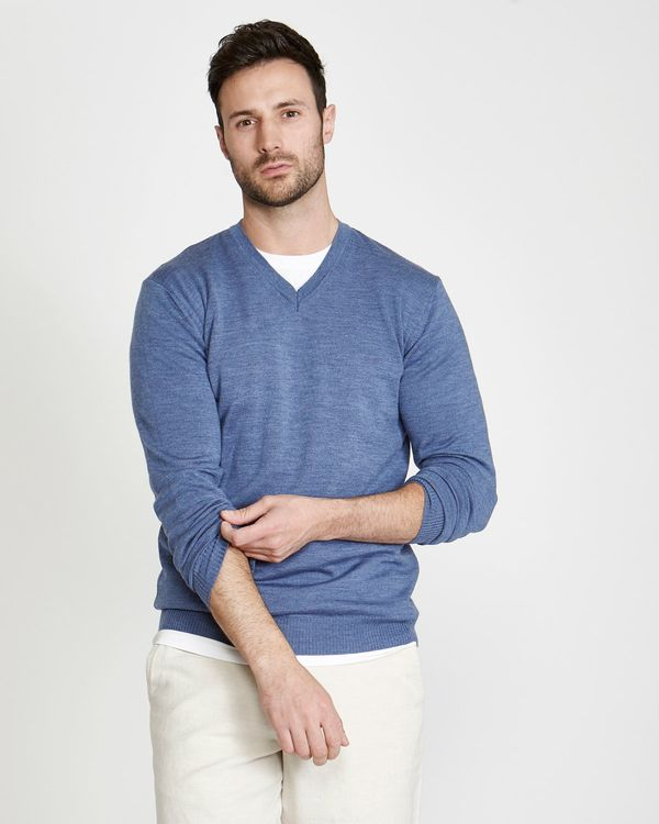 Paul Costelloe Living Regular Fit Denim Merino V-Neck (Made in Italy)