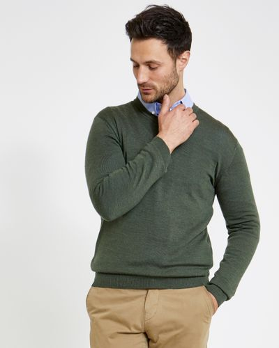 Paul Costelloe Living Regular Fit Green Merino V-Neck (Made in Italy)