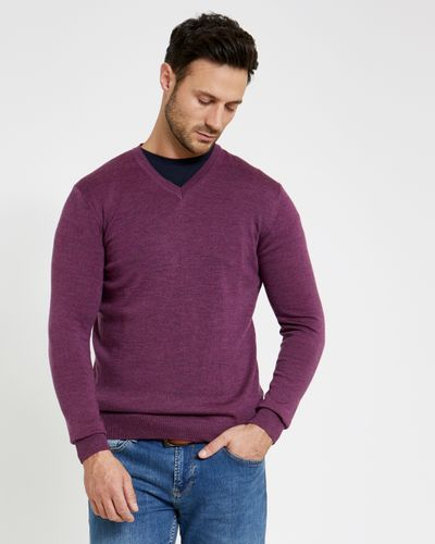 Paul Costelloe Living Regular Fit Purple Merino V-Neck (Made in Italy)
