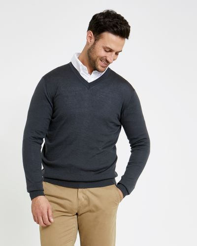 Paul Costelloe Living Regular Fit Grey Merino V-Neck (Made in Italy)