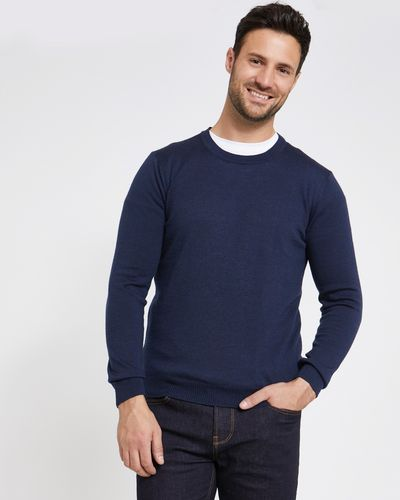 Paul Costelloe Living Navy Merino Crew-Neck (Made in Italy)