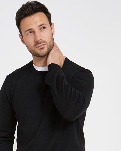 Paul Costelloe Living Regular Fit Black Merino Crew-Neck (Made in Italy)