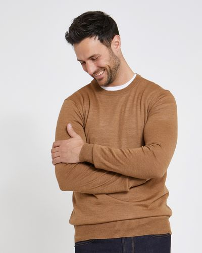 Paul Costelloe Living Regular Fit Tan Merino Crew-Neck (Made in Italy)