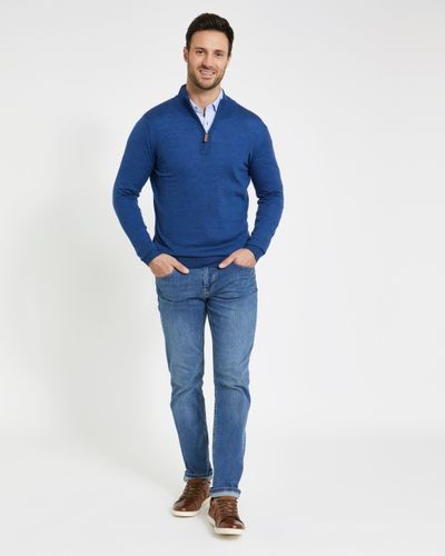 Paul Costelloe Living Dark Blue Merino Half Zip Jumper (Made in Italy)