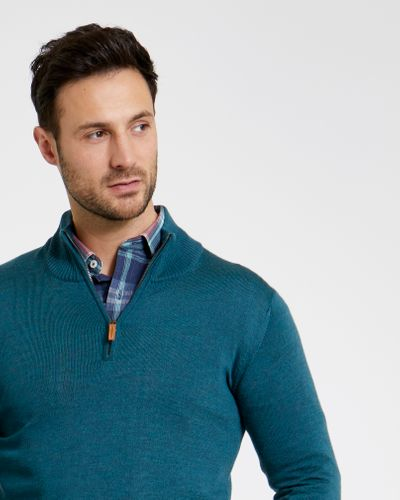 Paul Costelloe Living Teal Merino Half Zip Jumper (Made in Italy)