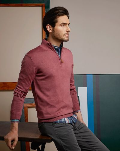 Paul Costelloe Living Pink Merino Half Zip Jumper (Made in Italy)