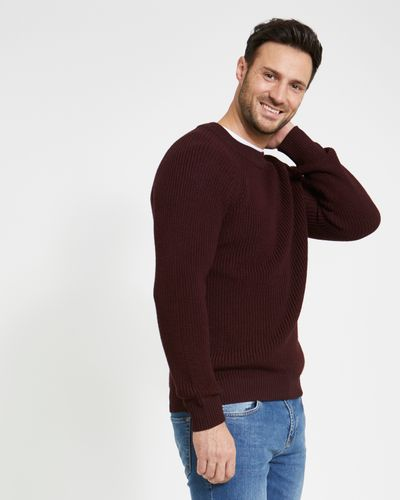 Paul Costelloe Living Wine Fisherman Rib Jumper (Made in Italy)