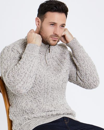 Paul Costelloe Living Half Zip Aran Jumper