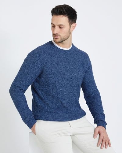 Paul Costelloe Living Denim Textured Crew Neck Jumper